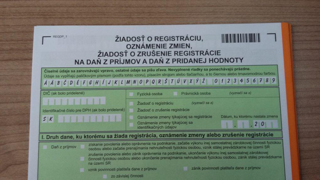 Nem teljeskoru szlovak AFA - DPH regisztracio