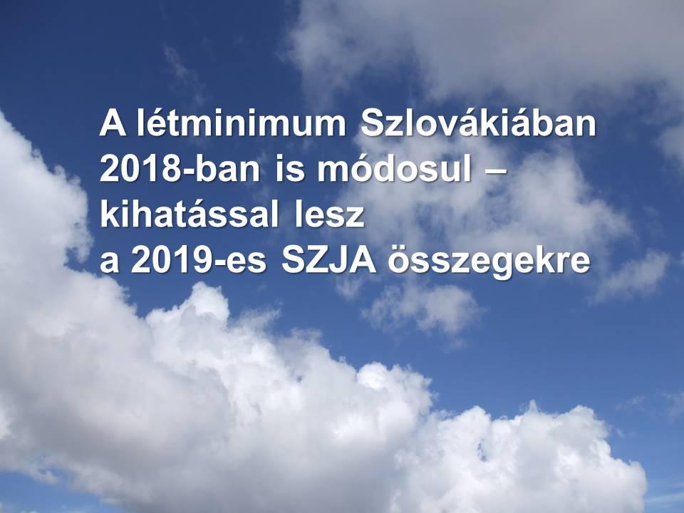 A letminimum Szlovakiaban 2018