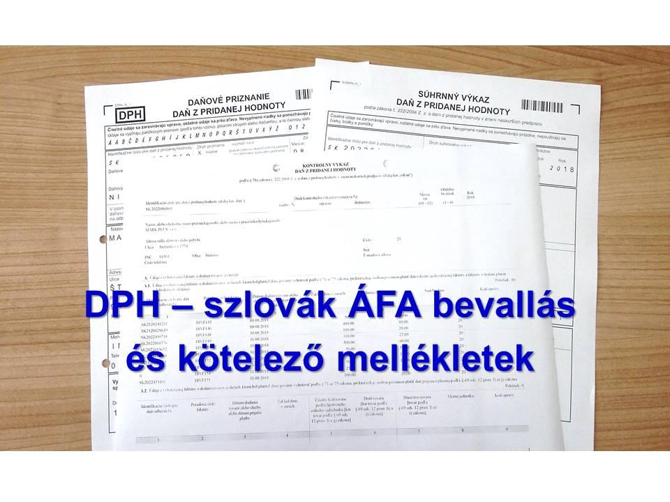 DPH - szlovak AFA bevallas es kotelezo mellekletek