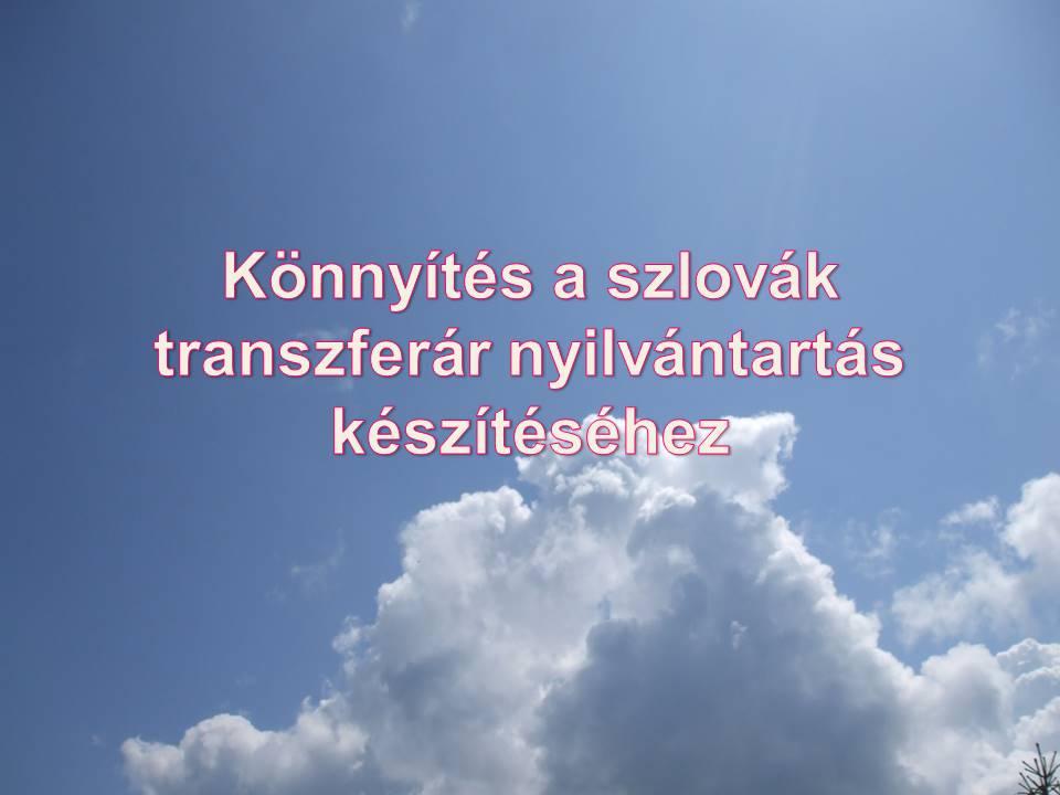 Könnyítés a szlovák transzferár nyilvántartás készítéséhez