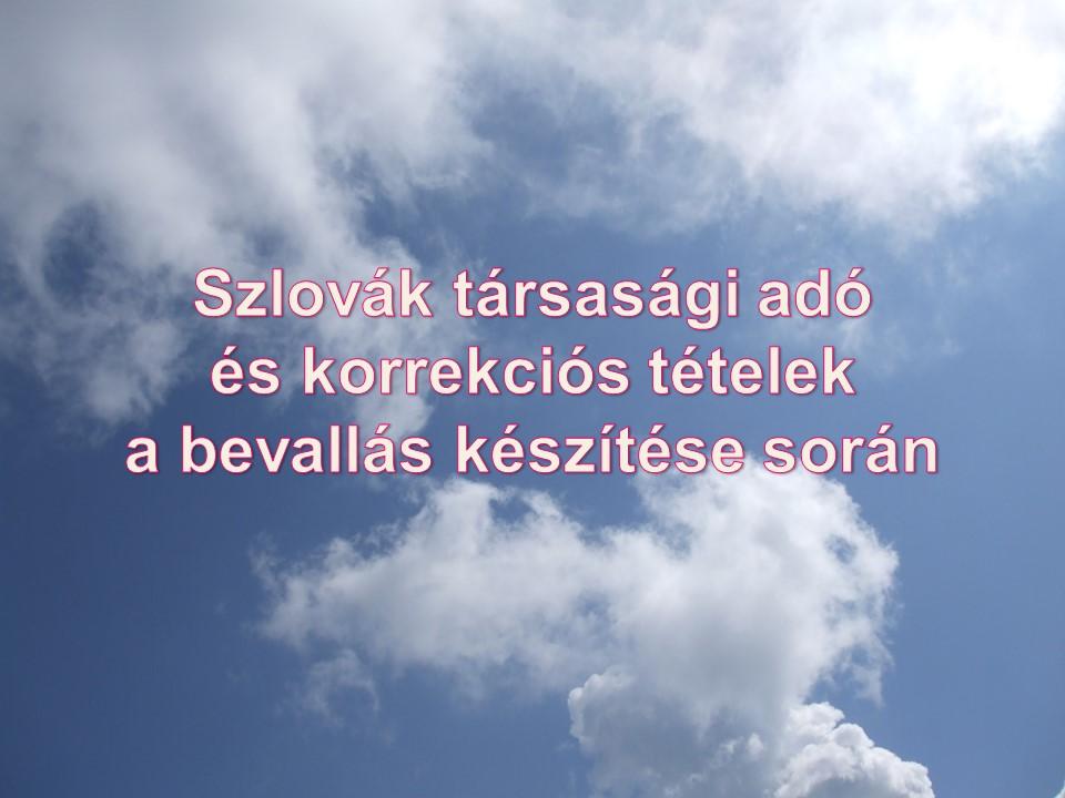 Szlovák társasági adó és korrekciós tételek a bevallás készítése során