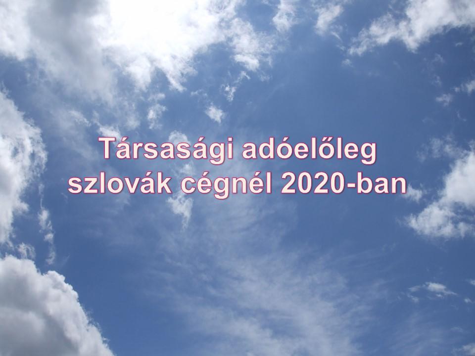 Társasági adóelőleg szlovák cégnél 2020-ban