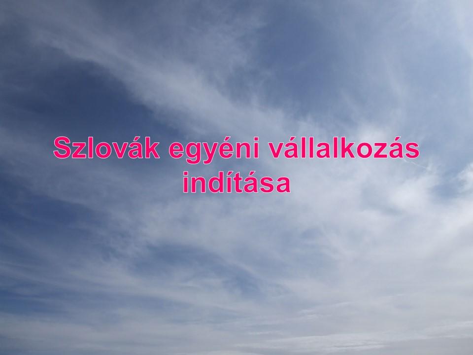 Szlovák egyéni vállalkozás indítása