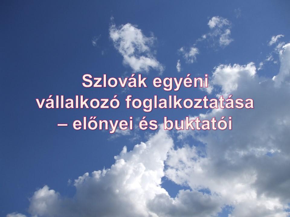 Szlovák egyéni vállalkozó foglalkoztatása