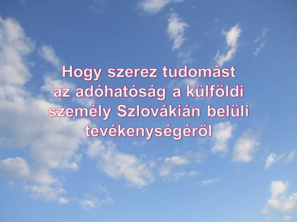 külföldi személy Szlovákián belüli tevékenysége