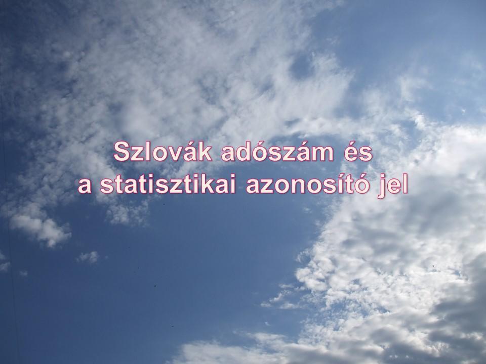 Szlovák adószám és a statisztikai azonosító jel