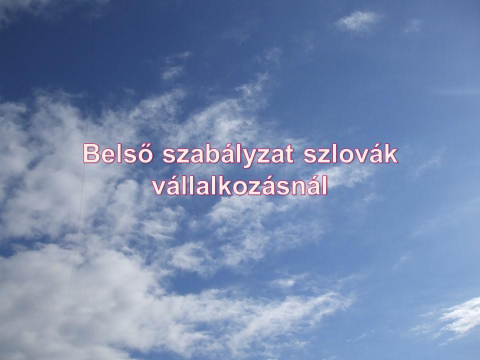 Belső szabályzat szlovák vállalkozásnál