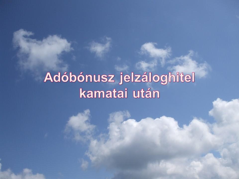 Adóbónusz jelzáloghitel kamatai után